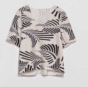 Zara Unique Cutout Crop Top Beige and Black
